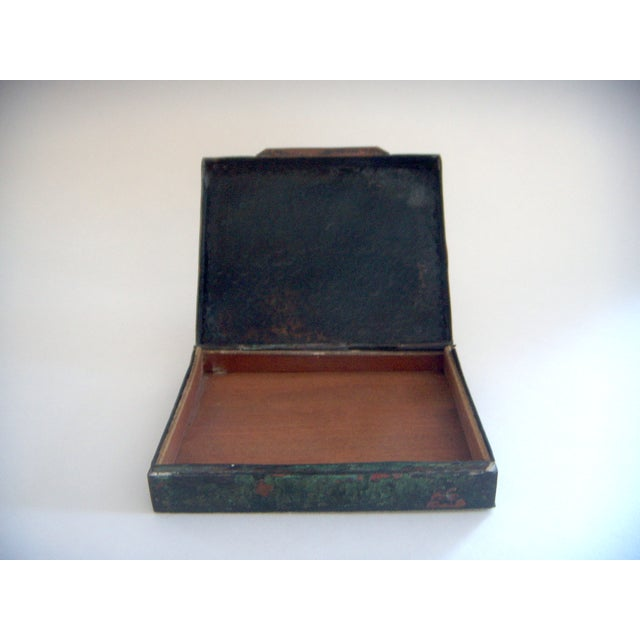 Boho Chic Vintage Aztec Cigarette / Cigar Box, Solid Silver Appliqué on Copper (Humidor) For Sale - Image 3 of 4