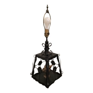 Early 20th Century Antique Wrought Iron Bird Cage Table Lamp For Sale