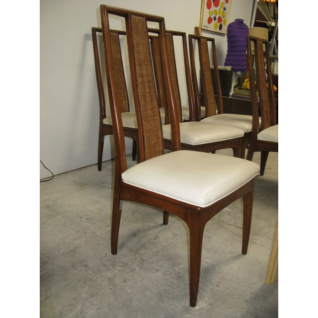 Mid 20th Century Walnut and Cane Dining Chairs by John Stuart- Set of 6 For Sale - Image 5 of 11
