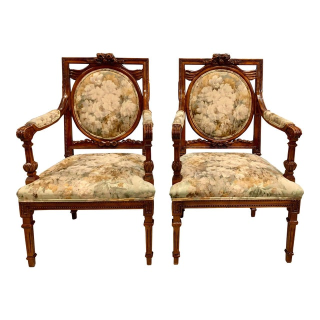 French Louis XVI Solid Mahogany Accent Chairs or Bergère Chairs 1920s - a Pair For Sale - Image 12 of 12