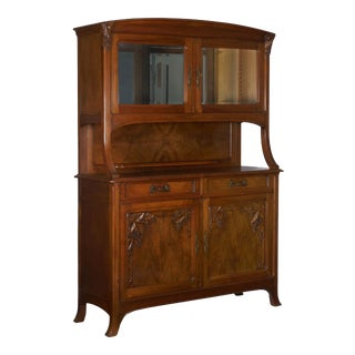 French Antique Art Nouveau Carved Walnut Server Buffet Cabinet For Sale