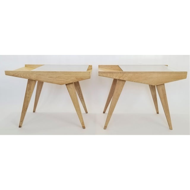 Pair End Tables or Nightstands Magazine Style -1950s Vintage Blond Wood and Glass - Mid Century Modern Minimalist Sleek For Sale In Miami - Image 6 of 13