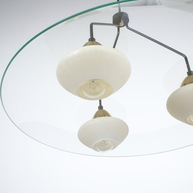 Gold Angelo Lelii Style Ufo Chandelier Clear Glass Brass, Italy Circa 1955 For Sale - Image 8 of 13