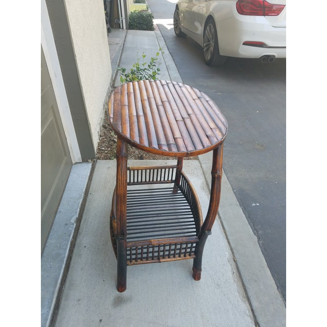 Antique Tortoise Bamboo Side Table For Sale - Image 4 of 4