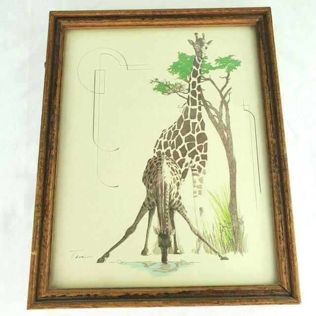 1970s 1970s William Tara Giraffe Print For Sale - Image 5 of 5