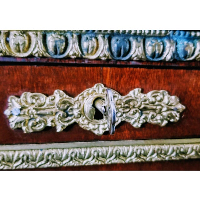 Oxblood Red Empire / Biedermeier Style Lyre Form Secretary Desk in Mahogany With Gilt Dolphins For Sale - Image 8 of 13