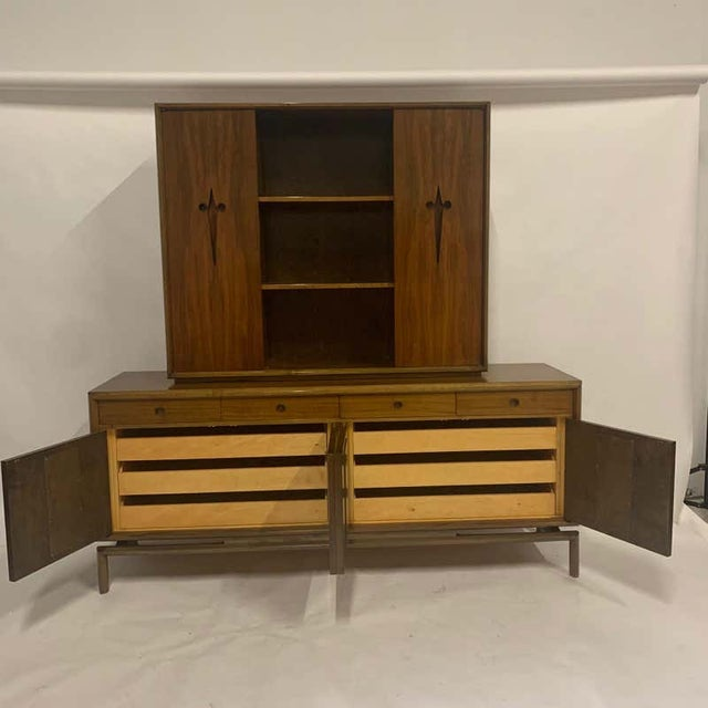 Decorative Midcentury Edmond J Spence Stilted Walnut Credenza, Sideboard, Buffet For Sale In New York - Image 6 of 9