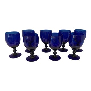 1970s Mid-Century Modern Hand-Blown Cobalt Blue Goblets - Set of 8 For Sale