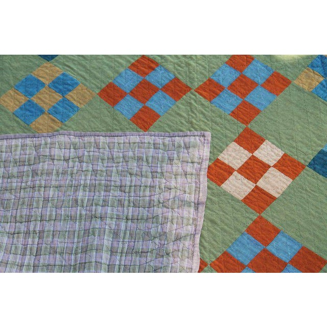 Textile Antique Amish Nine Patch Wool Quilt For Sale - Image 7 of 9
