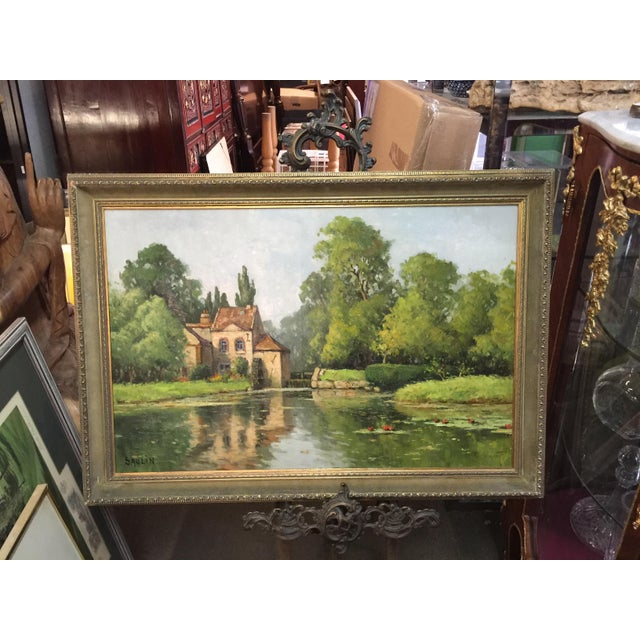 French Saulin Oil Painting French Landscape Moulin Des Beechet a Olivet For Sale - Image 3 of 6