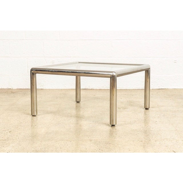 Mid-Century Modern Mid Century John Mascheroni Tubo Glass and Chrome Coffee Table 1970s For Sale - Image 3 of 10