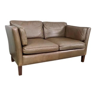 Danish Modern Leather Loveseat in the Style of Børge Mogensen For Sale