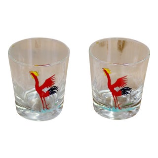 Red Rooster Painted Glasses - A Pair
