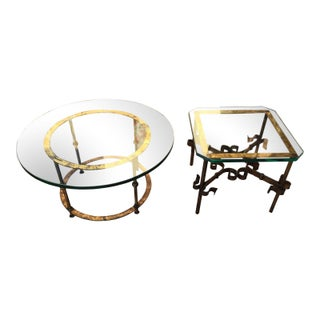 1950s Brutalist Spanish Gilded Iron Glass Coffee Table For Sale