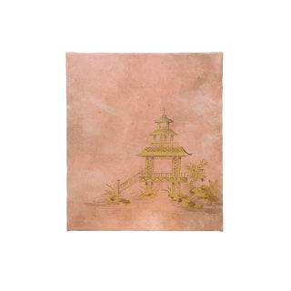 20th Century Chinoiserie Painting of Golden Pavilion on Peach Atmosphere For Sale