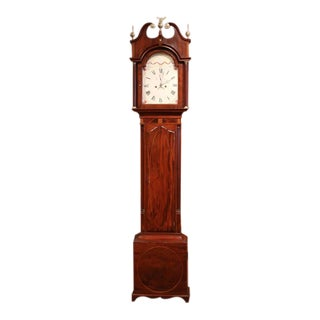 18th Century English Carved Mahogany Tall Case Clock