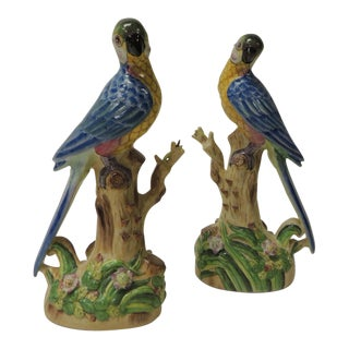 Pair of Vintage Chinese Export Hand-Painted Parrots For Sale