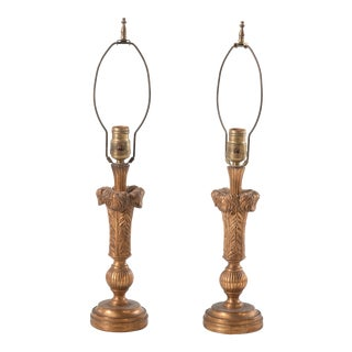 Vintage Italian Borghese Gilt Table Lamps 1950s - a Pair For Sale