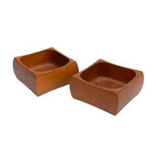 Pair of Sculpted Solid Teak Bowls by Sowe Konst Sweden For Sale