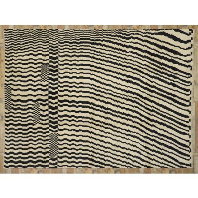 Black Contemporary Moroccan Area Rug- 10′3″ × 13′10″ For Sale - Image 8 of 10