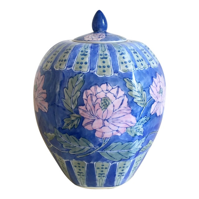 Vintage Large Chinoiserie Blue Ginger Jar & Lid - Image 1 of 10