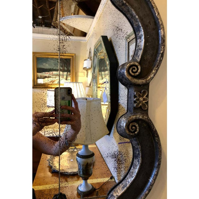 Hollywood Regency Style Wall Mirror Silver Overlay Decorated Midcentury For Sale In New York - Image 6 of 11