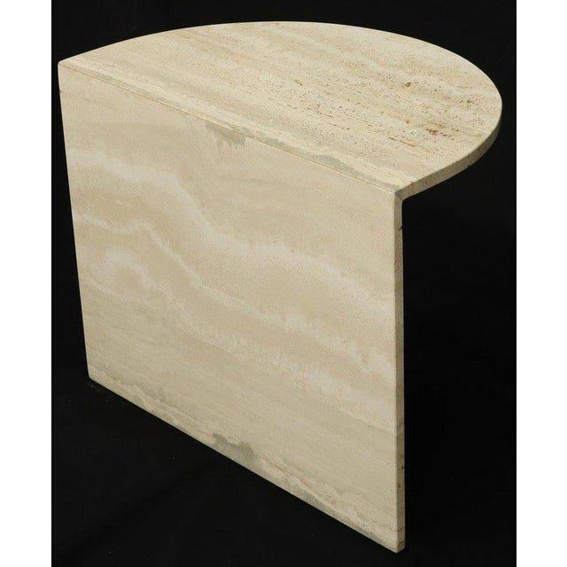 Mid-Century Modern Demilune Travertine Half Round Console Table For Sale - Image 3 of 12