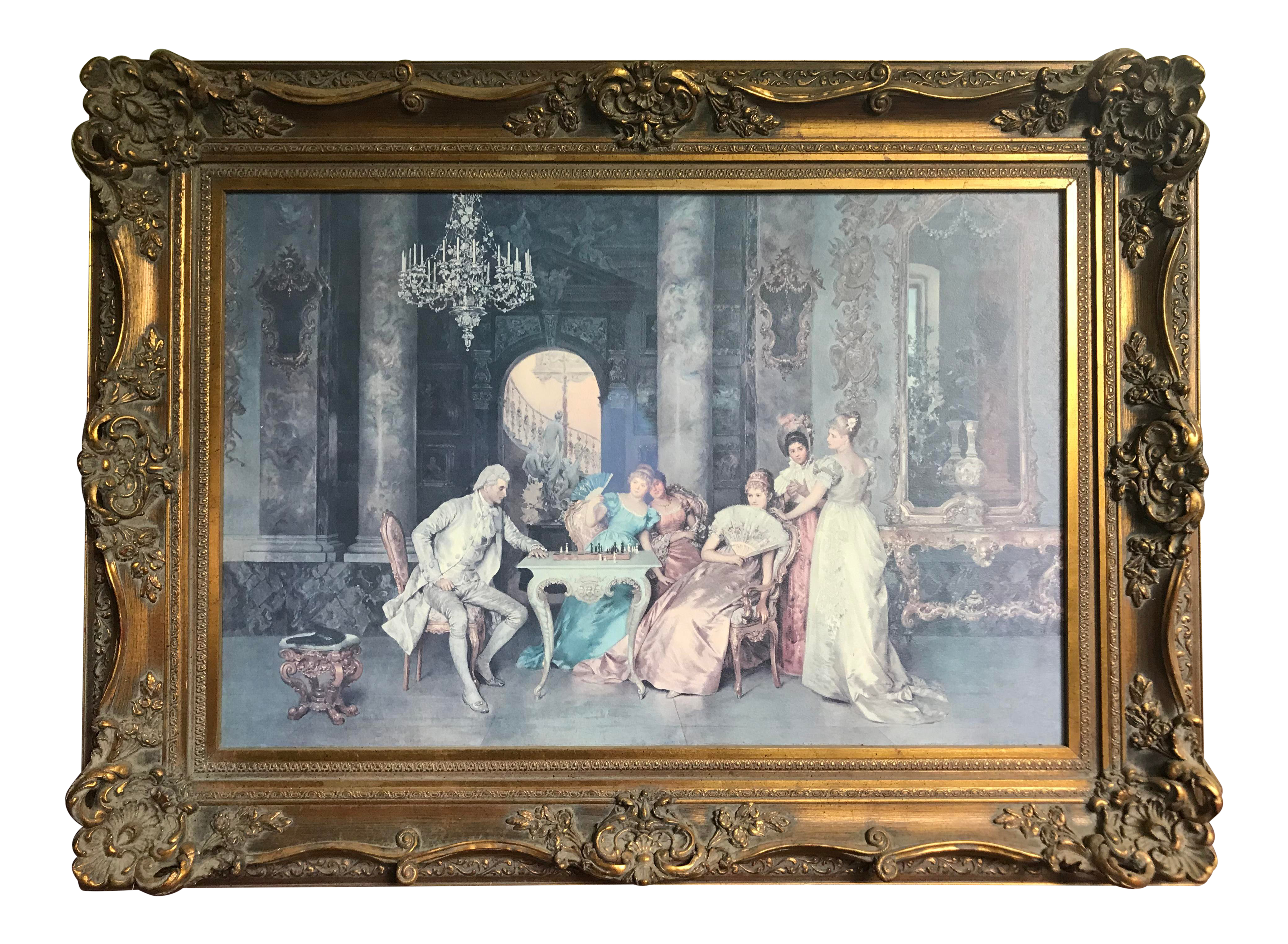 The Chess Game Print By Francesco Beda In A French Carved Gilt