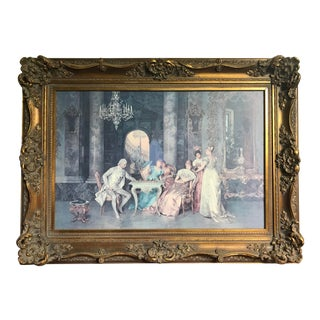 'The Chess Game' Print by Francesco Beda in a French Carved Gilt Frame