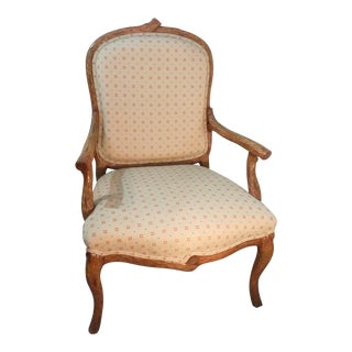 Vintage Mid Century Carved Country Armchair For Sale