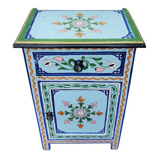 Moroccan Hand Painted Baby Blue Wooden Nightstand For Sale