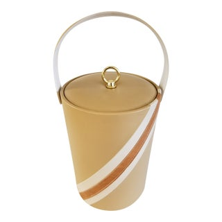 Vintage 1970s Vinyl With Leather Trim Ice Bucket For Sale