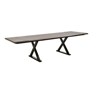 Modern Solid Wood Trestle Dining Table with X-Base Legs
