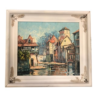 """Medieval Townscape Framed Oil Painting on Board - 20.5"""" x 8.5"""" For Sale"""