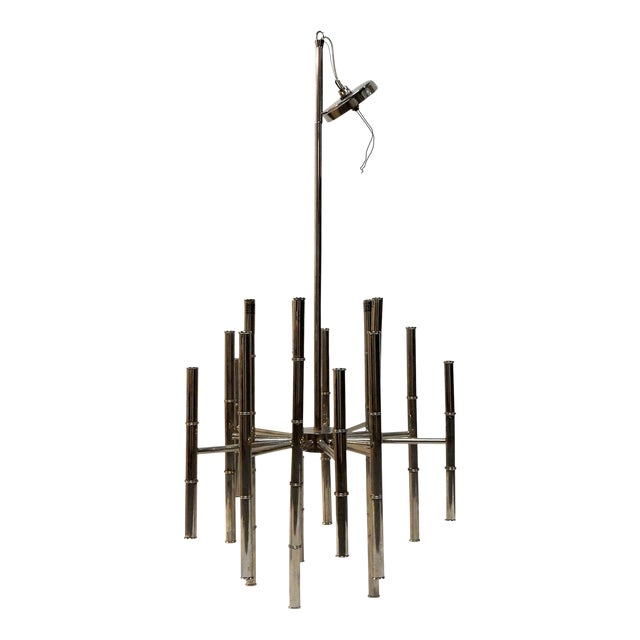 Faux Bamboo Chrome Chandelier - Image 1 of 9