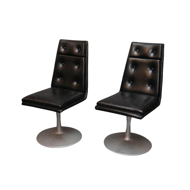 Black Mid-Century Swivel Black Leather Chrome Chairs- A Pair For Sale - Image 8 of 8