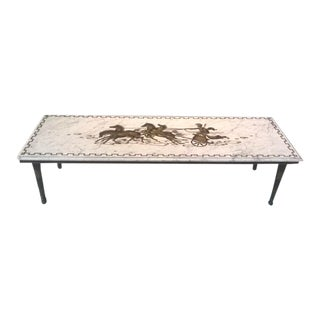 Italian Greek Key Chariot Marble Coffee Table For Sale