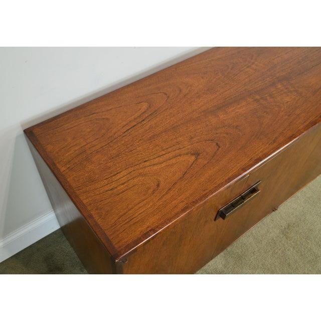 Mid Century Modern Walnut Low 4 Door Credenza Cabinet For Sale - Image 9 of 13