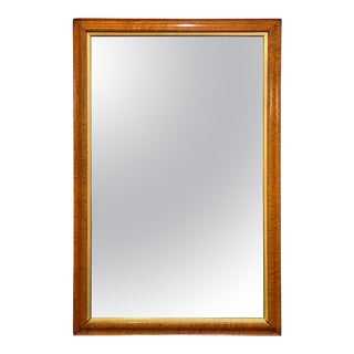 Large English Rectangular Maple and Giltwood Framed Mirror For Sale