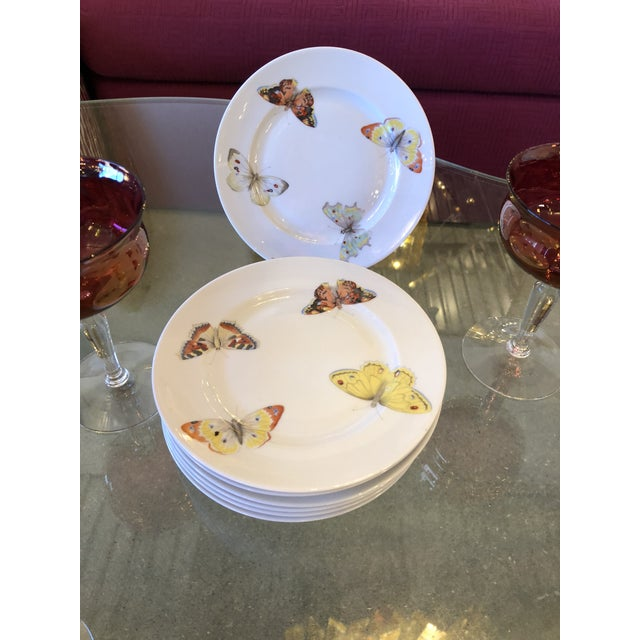 "S/7 Mid Century Modern L. Bernardaud Porcelain ""Butterfly"" Pattern Small Plates - Image 3 of 8"