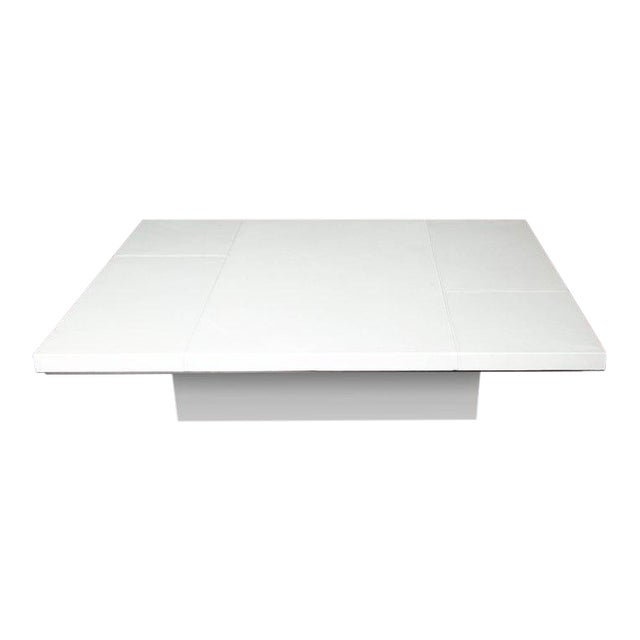Custom White Leather Cocktail Table For Sale