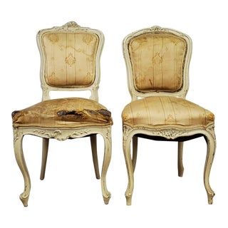 1920s Antique Louis XV Style Victorian White Accent Chairs-a Pair For Sale