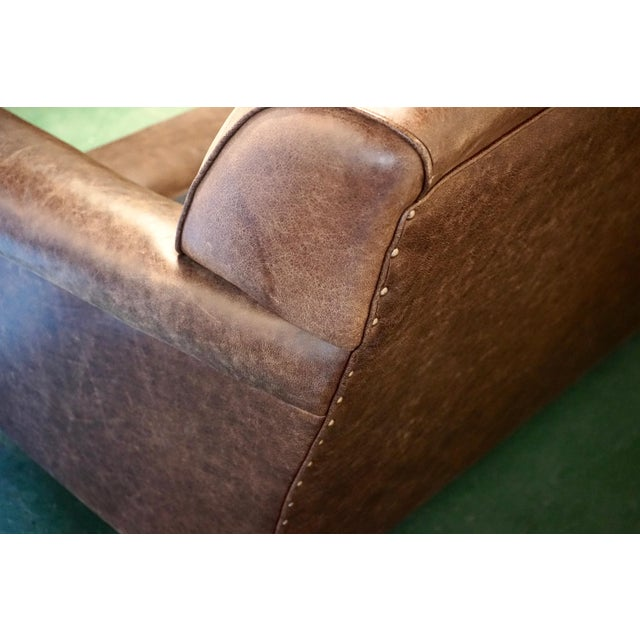 """Modern George Smith 70"""" Chocolate Brown Leather Three Seater Sofa For Sale - Image 10 of 11"""