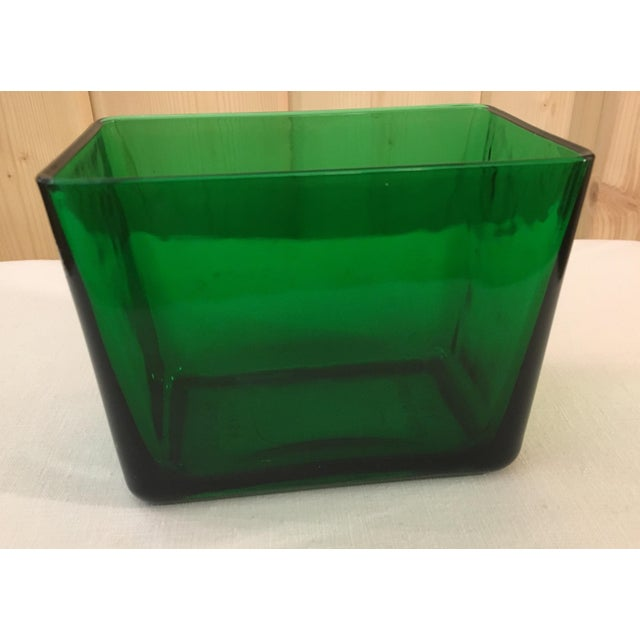Mid-Century Emerald Green Glass Planter - Image 3 of 11