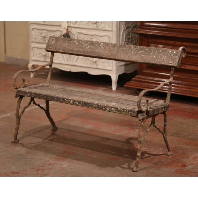 Mid 19th Century 19th Century French Weathered Iron and Wood Outdoor Garden Bench For Sale - Image 5 of 9