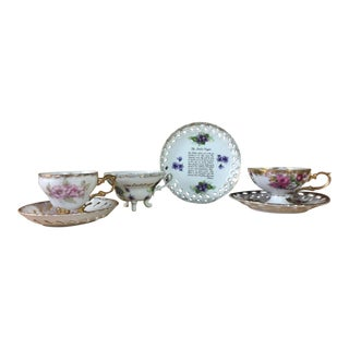Footed Teacups with Lace Cut Saucers - 6 piece set