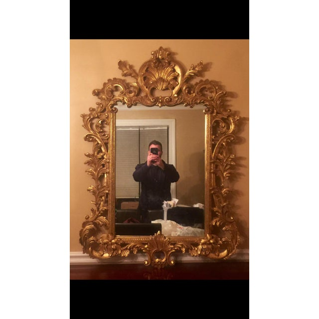 Gold Gilt Ornate Wood Wall Mirror - Image 2 of 6