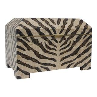 Zebra Motif Storage Box by Maitland Smith For Sale