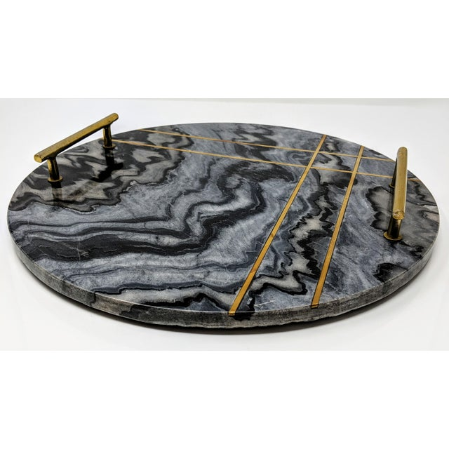 Brass Gray Marble and Brass Circular Tray For Sale - Image 7 of 13