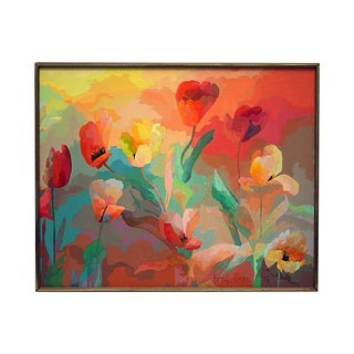 Tulip Garden Framed Oil On Canvas